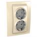 Цены на Электрическая розетка 2 гнезда литая с заземлением со шторками винтовой зажим Schneider Electric UNICA бежевая MGU23.067.25D