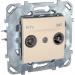 Цены на Телевизионная розетка TV - FM - SAТ Schneider Electric UNICA бежевая MGU5.454.25ZD