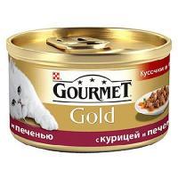 Gourmet Gold кусочки в подливе с курицей и печенью 0,085 кг