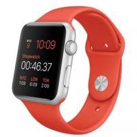 Apple Watch 42mm Silver Aluminum Case with Orange Sport Band (MLC42)